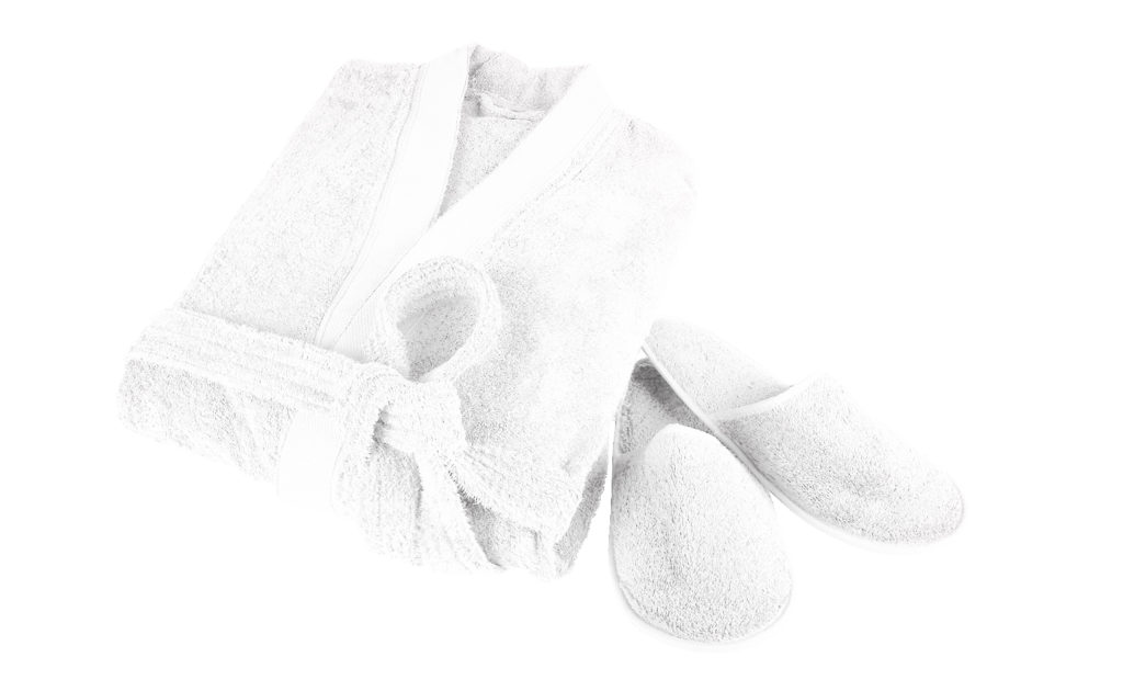 Create your own sustainable home textiles. 100 % organic cotton bathrobe and slippers.