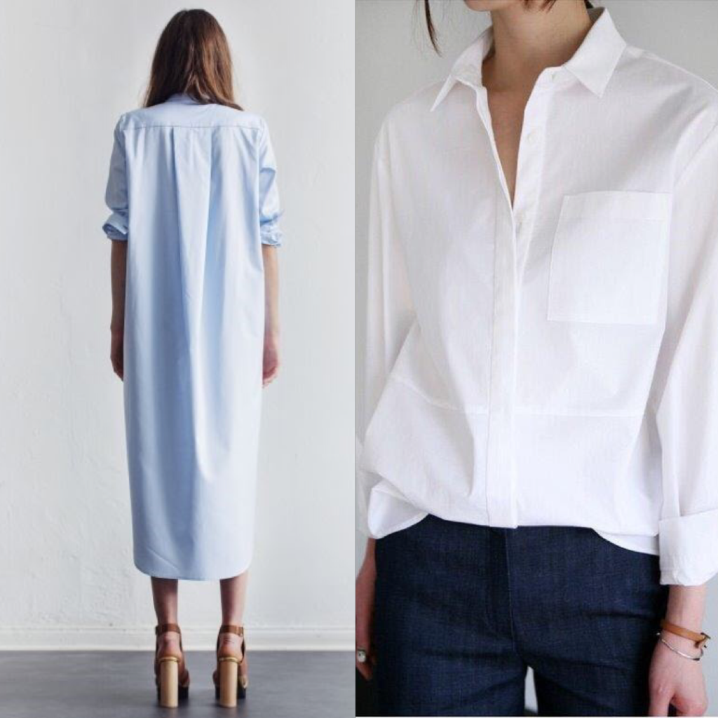 Our sustainble basic collection. A blue dress and a white blouse.